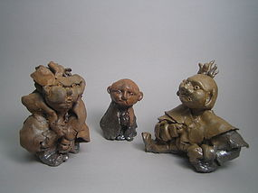 Set of two Oni and one Monk by Unokawa Kazumasa