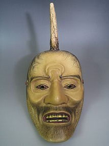 Vintage Noh Mask of Ikkaku Sennin