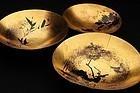 Set of Three Maki-e Lacquer Sakazuki