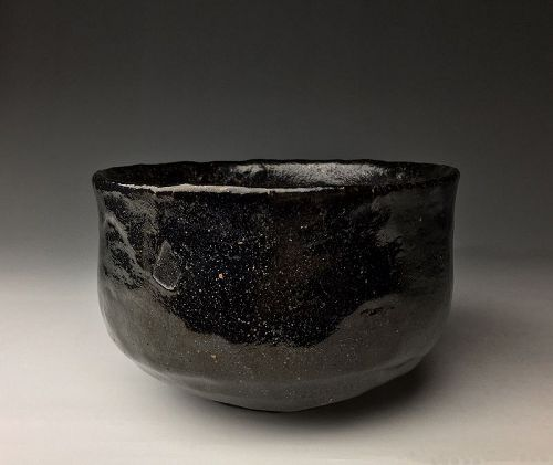 Black Raku Chawan by Raku Kichizaemon IX (Ryonyu)