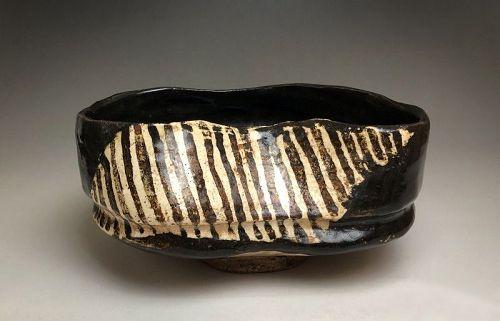 Edo Period Kuro-oribe Kutsu Chawan