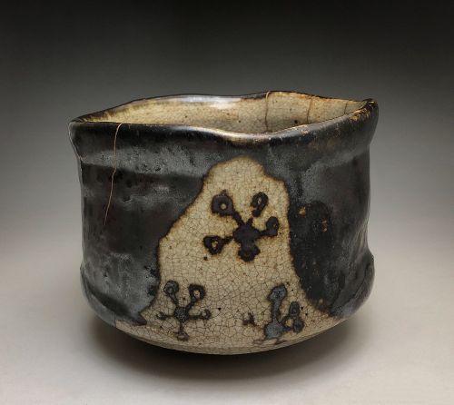 Edo Period Kuro Oribe Chawan