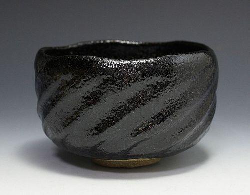 Black Chawan by Ogawa Yoshio (Ogawa Choraku III)
