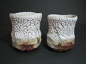 Pair of Oni-hagi Yunomi by Mukuhara Kashun