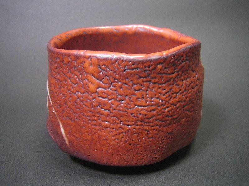 Red Shino Chawan by Suzuki Tomio