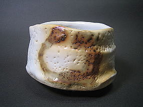 White Shino Chawan by Suzuki Tomio