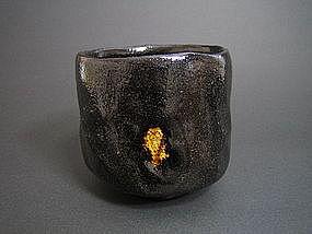 Black Raku-yaki Tsutsu chawan