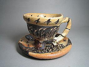 Hai-shino Cup and Plate set by Suzuki Goro (a)