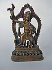 Unusual tribal goddess, non-gilt brass. Nepal
