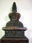 Carved wood Stupa, 19th cent. Tibet