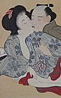 Shunga scene with a loving couple. Meiji