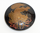 Fine, signed lacquer �kogo� with playful Shishi, Meiji