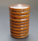 A boxwood lidded container (huangyangmu chayehe).