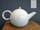 Antique Japanese white porcelain tea pot. Ito Tozan