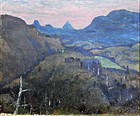 Oil painting: mountainous landscape in sunset