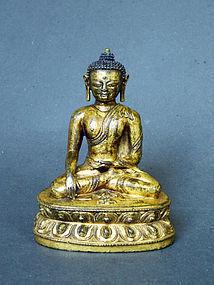 Fine gilt bronze image of Akshobya Buddha