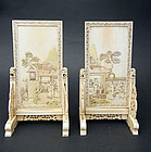 Antique, fine pair table screens. Late 18th/early 19th
