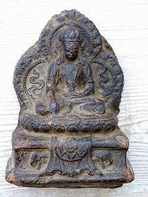 Antique, rare tsatsa image of Dhyani-buddha  Akshobya