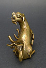 A nice bronze paperweight (zhenzhi) in the shape of a lion. 19th c