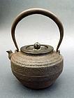 A water kettle (tetsubin) of cast iron. Ryubundo
