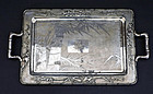 "Large silver tray with ""HUA"" character & bamboo. ZEE SUNG."