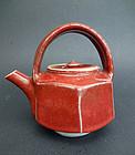 Hexagonal shape teapot by Ueda Tsuneji, Kawai Kanjiro's student