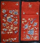 Two needle-loop and gold thread embroideris with flowers, birds etc.