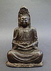 Bronze image of meditating Guanyin Bodhisattva (Baiyi Guanyin) Ming