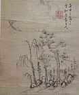 Small album leaf with scholar on a river. Signed: Yue An zhu ren. Qing