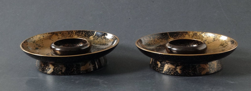 Pair of exquisite lacquer cup stands. Inscribed box: Yokodo Mikami