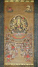Antique & fine Buddhist painting with Eleven-headed Kannon. Edo