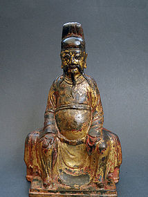 Antique bronze image of the City God of Daoism - Cheng Huang.