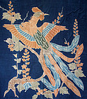 Antique & fine Futonji - futon cover with phoenix on indigo ground
