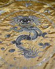Chinese large square yellow silk embroidery with dragons. Late 19th c