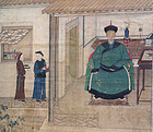 Informal ancestor portrait of Chinese official in interior. Dated 1801