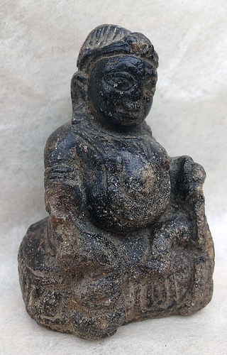 Small & rare Gao stone image of Jambala with mongoose.
