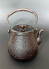 Antique Japanese iron tea kettle / tetsubin. Made by RYUBUNDO