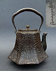 Great Iron Tetsubin for Tea Ceremony with wood pattern. Ryubundo