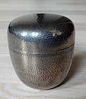 Beautiful hammered silver tea container (natsume) for Tea Ceremony