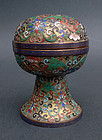 Lidded globular stem cup, enamel-cloisonne'. Late 19th cent.