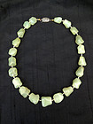 Vintage Chinese translucent green serpentine jade necklace
