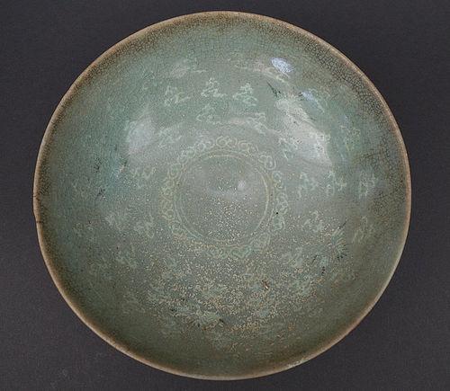 Large Koryo (935�1392) Celadon bowl with Mishima inlays