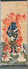 Buddhist painting kakemono of Protector-God FUDO MYOO