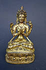 Antique Fire gilt image of Chenrezig. Tibet, 17th cent.