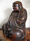 Large,  impressive old Bizen image of Bodhidharma (Daruma)