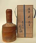 Mallet-shape Shigaraki ware vase; Tansei