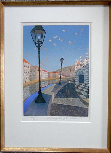 A charming Woodblock print of Pisa scenery. Yumae Hisayuki. 1986