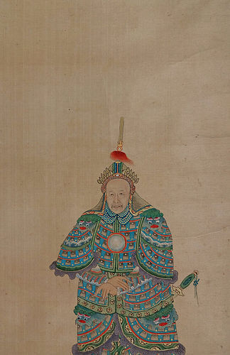 Portrait of a Chinese general painted on fine filk. Qing, 18-19th