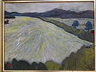 "Shigeko YAMADA, oil painting ""Windy day on the West Lake"""