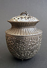 Incense burner (koro) in shape of woven basket with flowers